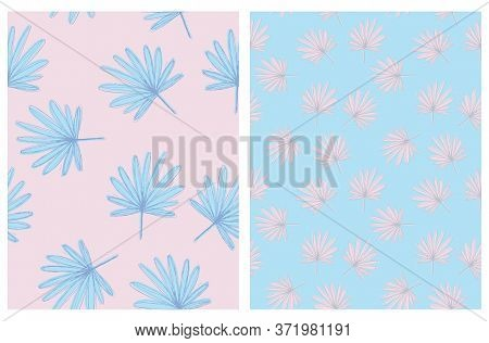 Abstract Palm Leaves Seamless Vector Pattern. Pastel Blue And Light Pink Tropical Repeatable Design.