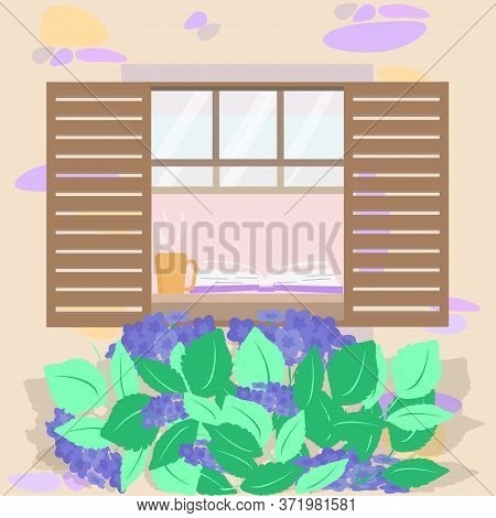 Window, Wooden Shutters In Stone House In Countryside. Hydrangea Is Growing. Stay  Home, Read Book O