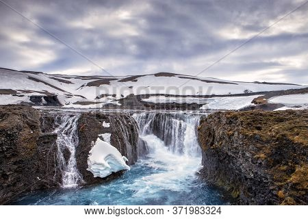 The Waterfall Flows Into The Blue Water At The Valley Of Tears In Iceland