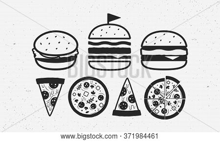 Fast Food Icon Set. Vintage Burger Icons In 3 Different Views. Vintage Pizza Icons. Fast Food Icons