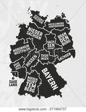 Germany Map With States. Poster Map Of Germany With State Names. Vintage Germany Background. Vector