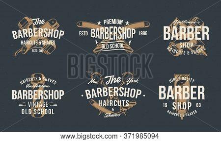 Barber Shop Vintage Hipster Logo Templates. Barbershop Stamp, Print, Label Set. Barbershop, Barber,