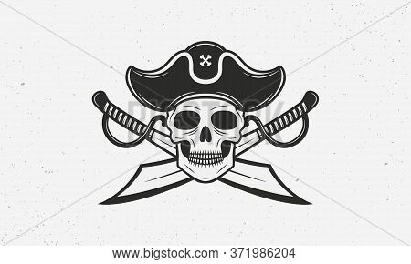 Pirate Icon, Logo, Symbol Isolated On White Background. Pirate Icon With Skull, Hat And Crossed Swor