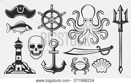 Nautical Elements Set. Vintage Nautical Icons Set. Marine Logo Templates. Lighthouse, Anchor, Triden