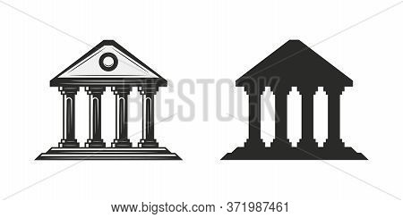 Vintage Courthouse, Museum Icon. Judgement Icon Isolated On White Background. Musem Silhouette. Vect