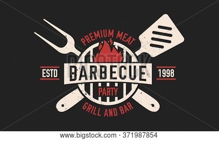 Barbecue Vintage Logo. Bbq Party Template Logo With Spatula And Grill Fork. Modern Design Poster. La