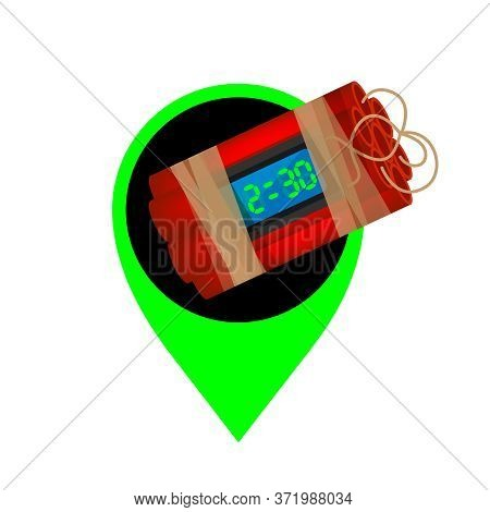 Blast Bomb Of Terrorist In The Green Pin Icon For Location Pointer, Explode A Bomb Dynamite With Poi