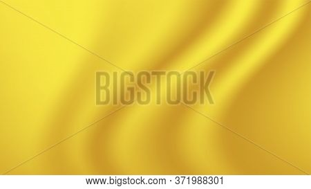 Yellow Gold Gradient And Wave Curve For Luxurious Background, Golden Fabric Cloth Smooth For Backdro