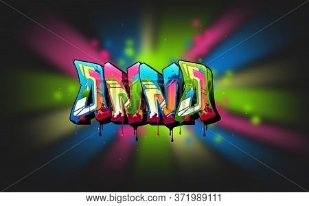 Anna. A Cool Graffiti Name Illustration Inspired By Graffiti And Street Art Culture. Vivid Vibrant C