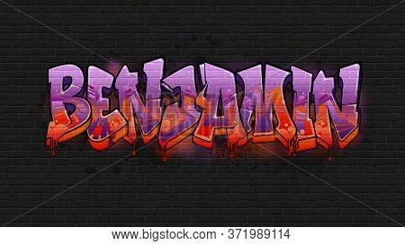 Benjamin. A Cool Graffiti Name Illustration Inspired By Graffiti And Street Art Culture. Vivid Vibra