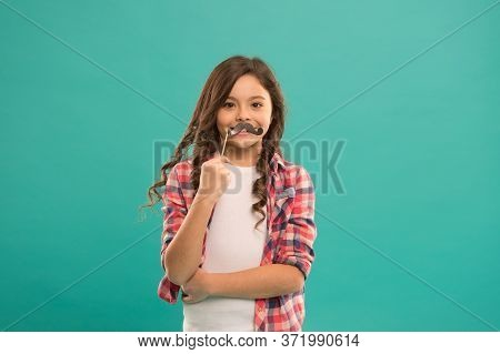 My Mustache. Little Child Hold Mustache Props. Small Girl With Photobooth Props On Stick. Party Prop