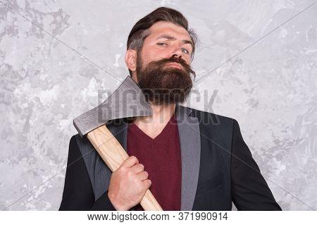 Good Beard Needs Good Blade. Bearded Man Hold Axe Blade. Beard Grooming Tool. Cutthroat Beard Shavin