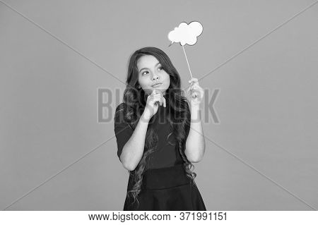 Read Her Thoughts. Kid Show Sign Bubble. Girl Hold Empty Speech Bubble Copy Space. Text Bubble Conce