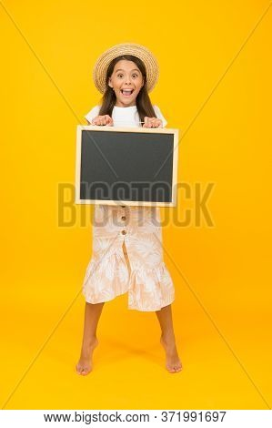Summer Holiday Is Here. Cheerful Little Girl With Blackboard. Happy Childrens Day. Summer Camp Adven
