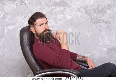 Professional And Skilled. Serious Businessman. Businessman Relax In Office Chair. Bearded Businessma