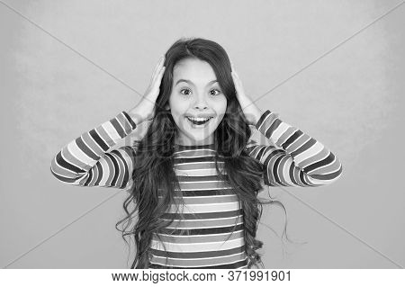 Happy Childhood. Positive Emotions. Teen Girl Smiling Turquoise Background. Teen Child With Long Hai