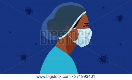 Coronavirus In World. Doctor And Nurse In A Medical Mask And Hat. Virus Symbol In The Air. Medical S