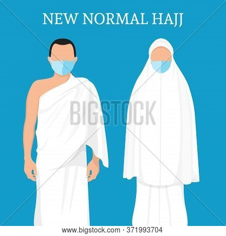 New Normal Hajj Characters. Men And Women Wear Masks During Pilgrimage. Man And Woman Pilgrimage Cha