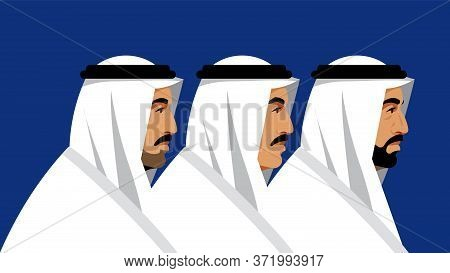 Arabs Of Different Ages: A Young Man, A Middle-aged Man And An Elderly Man Inin National White Suit.