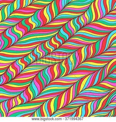 Doodle Pattern Background. Zentangle Art. Rainbow Colors. Trippy Lollipop Pattern. Neon Color Floral
