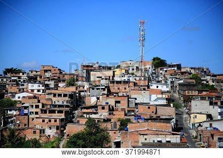 Salvador, Bahia / Brazil - December 17, 2019: View Of Slum Dwellings In The Neighborhood Of Engomade