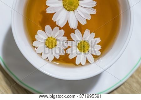 Close-up Chamomiles Is In The Cup Of Tea. Herbal Tea Of Chamomile Flower. Chamomile Tea Concept. Fla