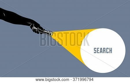 Hand With Flashlight Vector Concept Trendy Illustration, With Copy Space For Text Message, Highlight