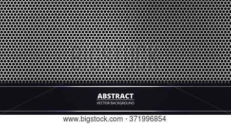 Abstract Background With White Hexagon Carbon Fiber. Abstract Backdrop With Dark And Light Luminous