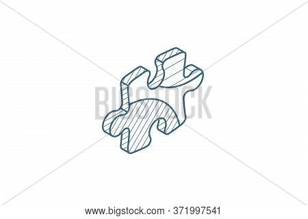 Puzzle Part, Jigsaw Piece, Solution Isometric Icon. 3d Line Art Technical Drawing. Editable Stroke V