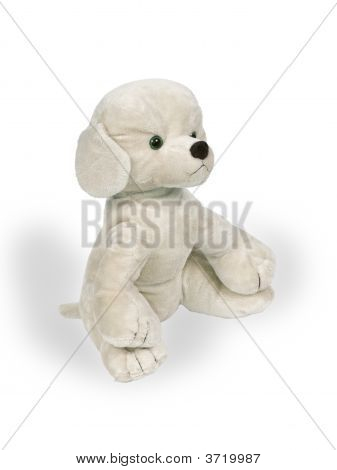 Toy a dog on a white background poster
