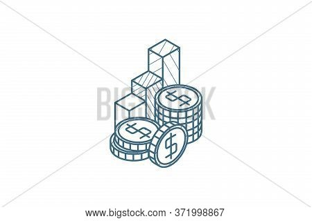 Columns Of Golden Coins And Chart Isometric Icon. 3d Line Art Technical Drawing. Editable Stroke Vec