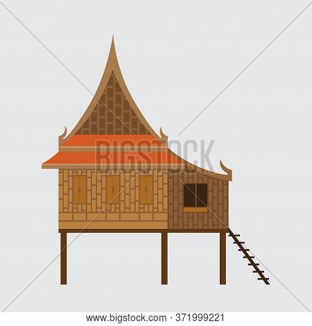 Thai Traditional House,thai Wooden House Beautiful Architecture, Vector Illustration.
