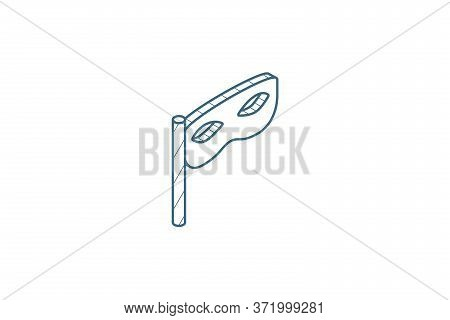 Privacy, Mask, Masquerade Isometric Icon. 3d Line Art Technical Drawing. Editable Stroke Vector