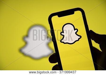 London, Uk - June 2020: Snapchat Social Media Logo On A Smartphone Screen