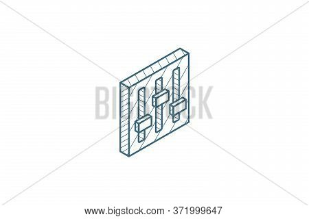 Mixer, Setup Isometric Icon. 3d Line Art Technical Drawing. Editable Stroke Vector