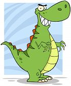 Angry Green Dinosaur With Big Teeth Cartoon Character poster
