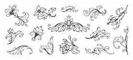 Baroque Ornament. Vintage Floral Border Elements, Engraved Leaves And Frame Filigree Arabesque. Vect
