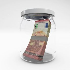 Euro Savings Concept Money In A Jar 3d Rendering Isolated On White