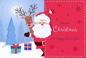 Merry Christmas and Happy New Year Greeting Card. Santa and deer. Christmas. Christmas Vector. Christmas Background. Merry Christmas Vector. Merry Christmas banner. Christmas illustrations. Merry Christmas Holidays. Merry Christmas and Happy New Year Vect