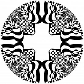 Abstract Arabesque Courved Shapes Cross Negative Space Game Perspective Negative Space Design Black