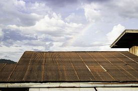 Vintage House Roof With Cloudy Sky, Stock Photo