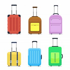 Colorful Flat Style Travel Suitcases On Wheels. Business And Family Summer Vacation Luggage, Journey