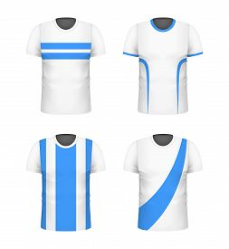 T-shirt With Blue Print Template Set. White Color. Sport Football Clothing. Casual Men Wear. Cotton