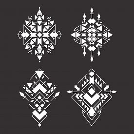 Abstract Geometric Aztec Patterns Set. Mexican Tribal Ethnic Design. Indian Traditional Ornament. Co