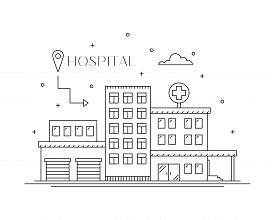 Hospital Building Flat Line Design, Front View. City Architecture Infografic. Medical Services And A