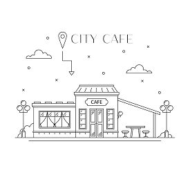 Cafe Building Facade Flat Line Design, Front View. City Architecture Infografic. Public Catering And