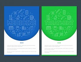 Posters With Medicine And Treatment Line Icons In Circle Frame. Health Care Elements Set. First Aid