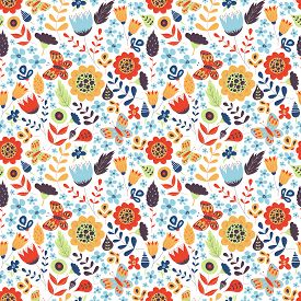 Floral Seamless Pattern With Doodle Flowers, Butterfly And Leaves. Vector Blooming Floral Texture Fo