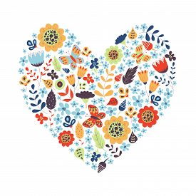 Cute Vintage Heart Shape With Flowers And Leaves. Beautiful Floral Background. Good For Greeting Car