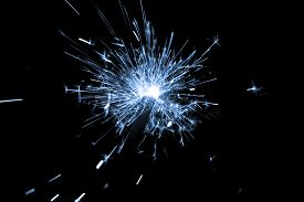 Blue Sparkler Countdown On Fire With Spread Of Glitter Sparks. Luxury Entertainment At E.g. New Year